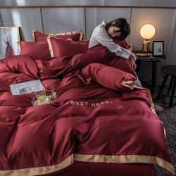 宇航家纺2019新款网红水洗真丝四件套冰丝床单款甜蜜的爱酒红