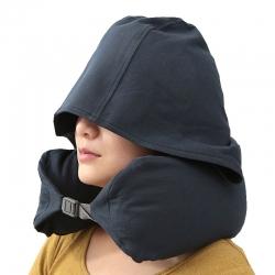 (總)良品匯館 日式無印良品連帽U型枕全棉粒子護頸枕帽子