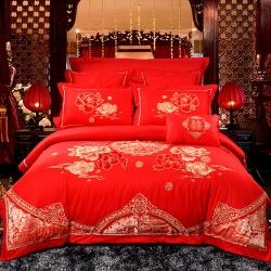 慕她家纺全棉纯棉婚庆四件套大红色刺绣结婚六件套多件套鸳鸯情缘