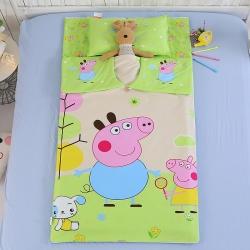 七彩童年 純棉大版幼兒園兒童睡袋防踢被 小豬綠色
