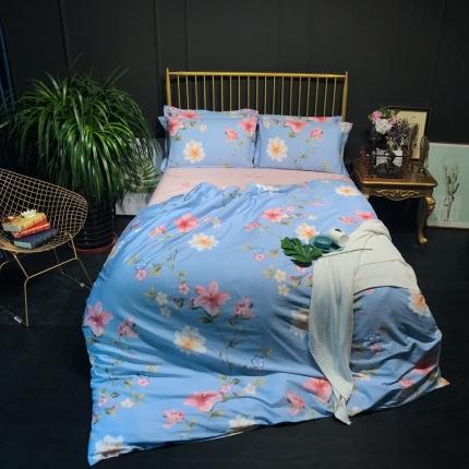 寐怡家纺 全棉活性印染13070纯棉三件套四件套 海蒂花园