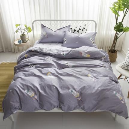 寐怡家纺 全棉活性四件套床上用品 纯棉套件-轻羽灰