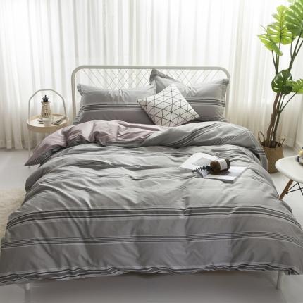 寐怡家纺 全棉活性四件套床上用品 纯棉套件-瓦格尔-灰