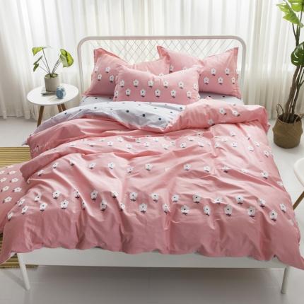 寐怡家纺 全棉活性四件套床上用品 纯棉套件-香远溢清-粉