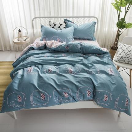 寐怡家纺 全棉活性四件套床上用品 纯棉套件-小象帕特兰