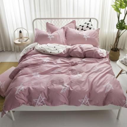 寐怡家纺 全棉活性四件套床上用品 纯棉套件-星星闪烁-粉