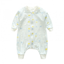 老皮匠 秋季薄款A類嬰幼兒天然有機棉分腿睡袋 云朵藍