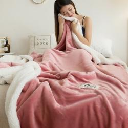 雙層羊羔絨+法蘭絨毯冬季加厚毛毯珊瑚絨毯保暖毯子空調毯午睡毯