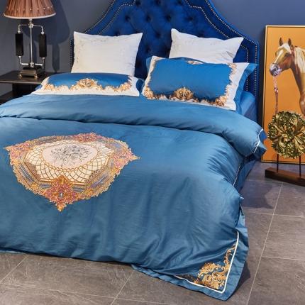 涞乐家纺 高端刺绣四件套60支长绒棉贡缎绣花床上用品欧亚幻境