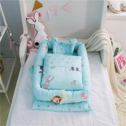 ELEVEN伊涞温 便捷式婴儿床带被子 卡通图案隔离床