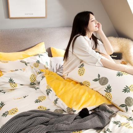 慕梵2018新品全棉法莱绒单被套纯棉单被罩法兰绒水晶绒棉加绒