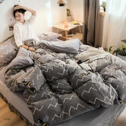 (总)朴尔家纺 水晶绒法莱绒法兰绒四件套保暖印花三件套床笠款