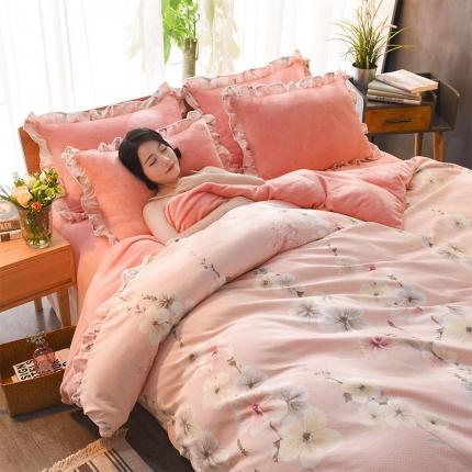 三朵家纺 2018年韩版法莱绒四件套 珊瑚绒四件套