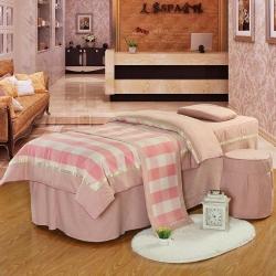 娇奢雪尼尔格子美容床罩四件套加厚床罩美容院按摩床套可定制尺寸