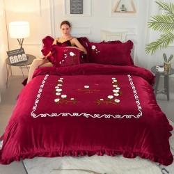 水晶绒四件套 毛巾绣法莱绒六件套床笠绣花三件套韩版纯色抱枕