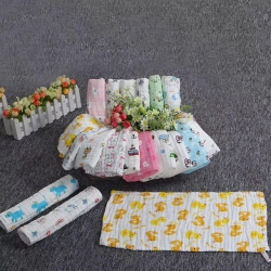 吖噢 六層全棉紗布水洗泡泡紗高密嬰幼兒卡通童巾 小毛巾
