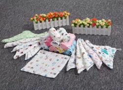 吖噢 六層全棉紗布嬰幼兒水洗泡泡紗口水巾 圍嘴 方巾 童巾