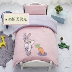 玖佳家紡全棉A類嬰兒兒童無熒光水洗棉幼兒園三件套棉花被含芯