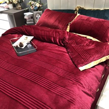 涞乐2018冬季加厚保暖床上用品四件套出口金丝提花绒罗红
