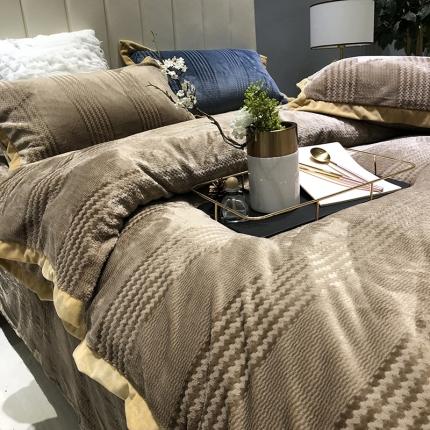 涞乐2018冬季加厚保暖床上用品四件套出口金丝提花绒棕榈