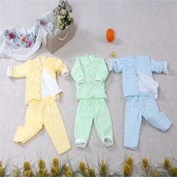 吖噢 纯棉纱布睡袋六层高密牛奶棉婴幼儿分身睡衣儿童家居服