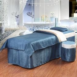 嬌奢家紡 2018絲麻絨純色簡約美容床罩四件套