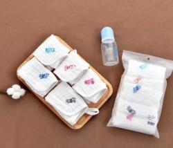 吖噢 嬰兒口水巾寶寶紗布毛巾純棉洗澡小方巾6層紗洗臉巾5條裝