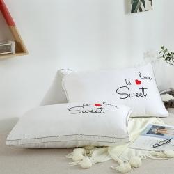 启艾枕芯 全棉贡缎绣花羽丝绒枕(英文)枕芯 儿童枕芯