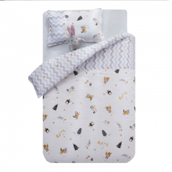御棉坊A類雙層紗布兒童被套純棉嬰兒幼兒園寶寶小被罩企鵝的派對