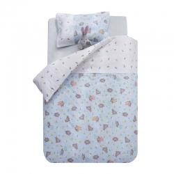 御棉坊A類雙層紗布兒童被套純棉嬰兒幼兒園寶寶被罩林中小熊-藍