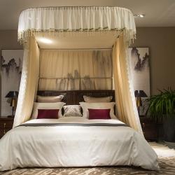 新太陽家紡 新款中國風導入式紗幔床幔 香檳色