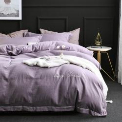 2019高克重斜纹水洗棉刺绣款四件套-莫兰迪灰紫2.5kg