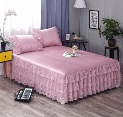 乐朵 2019供货 蕾丝床裙 西西公主凉席床裙三件套