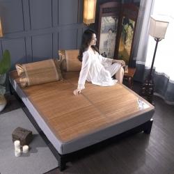 安芬家紡雙面折疊竹席雙人0.9m1.8米涼席 水墨對接竹席