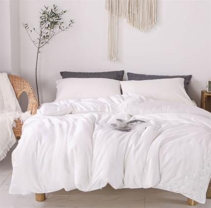 傲蕾良品正宗100%特级双宫桑蚕丝被蕾丝款纯白色夏被冬被纯棉