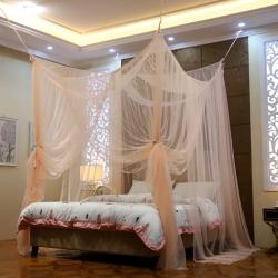 蚊帐定制定做特殊尺寸蚊帐榻榻米架子床圆床落地加密四柱床款