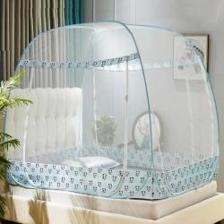 可折叠免安装蚊帐拉链方顶三开门加密1.5米1.8m床双人家用