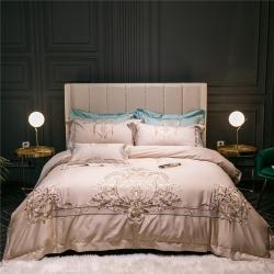 藍螢新款歐式米駝100支埃及長絨棉刺繡套件多件套床品四件套
