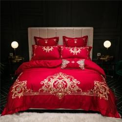 新款婚慶多件套結婚大紅刺繡床上用品100支埃及長絨棉四件套