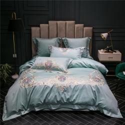 藍螢新品法式貼紗花卉刺繡床上用品100支淺蘭純棉長絨棉四件套