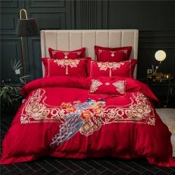 藍螢結婚大紅婚慶孔雀刺繡床上用品100支長絨棉四件套廠家