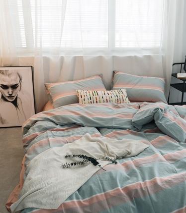 爱尚佳家纺 全棉色织精梳水洗棉多规格四件套床单款 清新条纹