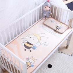 御棉坊 卡通大版兒童涼席兩件套嬰兒冰絲涼席幼兒園席子 小蜜蜂