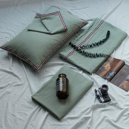 爱尚佳 色织水洗棉英伦风织带床单款四件套 巴洛克-水绿