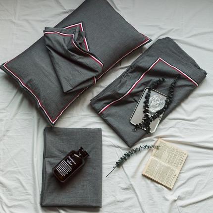 爱尚佳 色织水洗棉英伦风织带床单款四件套 巴洛克-深灰