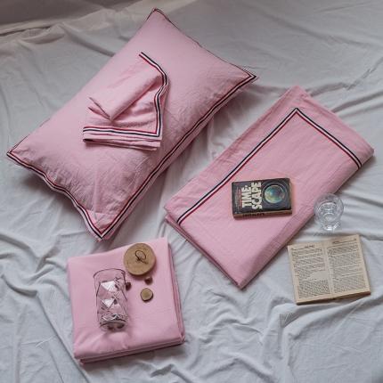 爱尚佳 色织水洗棉英伦风织带床单款四件套 巴洛克-浅粉