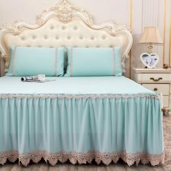 乐朵2019新品蕾丝床裙1901 凉感席床裙款三件套