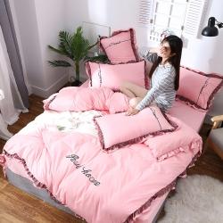 升级版水洗棉四件套绣花蕾丝边套件 网红韩版公主风夏被四件套