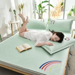 炫拼家纺 爆款刺绣凉席三件套 纯色冰丝席 软席 空调席 浅绿