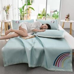 炫拼家纺 爆款刺绣凉席三件套 纯色冰丝席 软席 空调席 水蓝